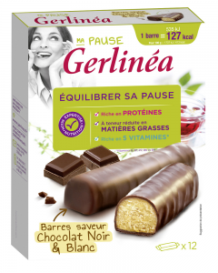 Batoane dietetice cu ciocolata neagra si ciocolata alba Gerlinea 372g