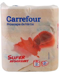 Prosoape de hartie Carrefour 2 straturi, 2 role
