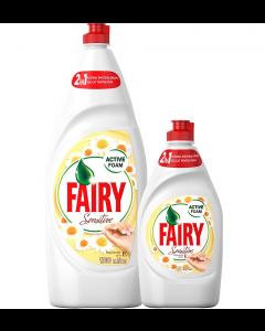 Pachet Detergent de vase Fairy Sensitive Chamomile & Vitamin E, 1.3l + Detergent de vase Fairy Sensitive Chamomile & Vitamin E, 450ml