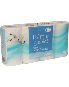 Hartie igienica alba neparfumata Carrefour 3straturi 8role