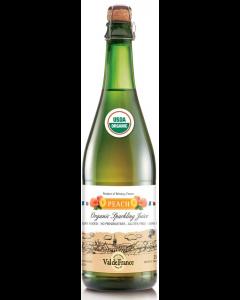 Suc de mere ecologic carbonatat cu aroma de piersici Val de France 0.75l