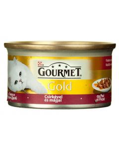 Hrana completa pentru pisici adulte cu pui si ficat Purina Gourmet Gold 85g