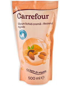 Sapun lichid crema migdale rezerva Carrefour 500ml