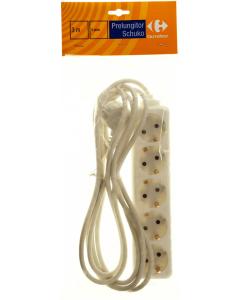 Prelungitor Carrefour alb cu 5 prize si cordon de alimentare de 3m