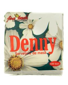 Servetele de masa Denny 1 strat 24x24cm albe 100 buc