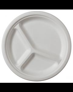 Set de 8 farfurii biodegradabile 3 compartimente 25 cm