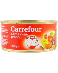 Carne in suc propriu de porc Carrefour 300g