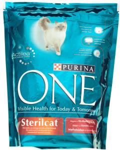Hrana uscata pentru pisici sterile cu vita si grau Purina One 800g
