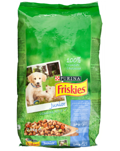 Hrana completa cu pui si legume pt catelusi Purina Friskies Junior 2.4kg