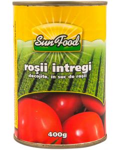 Rosii intregi decojite in suc de rosii Sunfood 400g