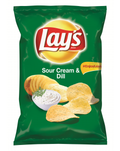 Lay's SourCream & Dilll, chipsuri din cartofi cu gust de smantana si marar, 100 g
