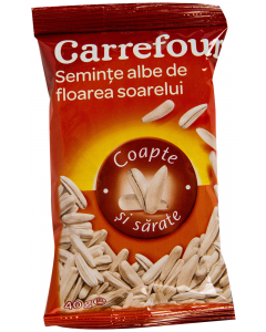 Seminte albe de floarea soarelui, coapte si sarate Carrefour 40g