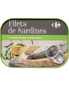 Sardine file in ulei de masline extra virgin Carrefour 100g