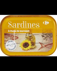 Sardine in ulei de floarea soarelui Carrefour 135g