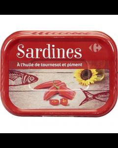 Sardina in ulei de floarea soarelui si ardei iute Carrefour 135g