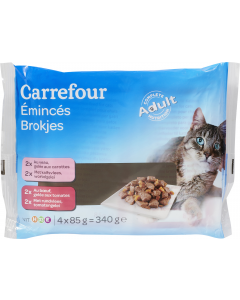 Hrana umeda pentru pisici cu vita si legume Carrefour 4x85g