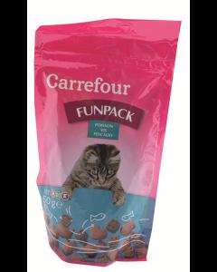 Hrana uscata pentru pisici cu somon si creveti Carrefour 50g