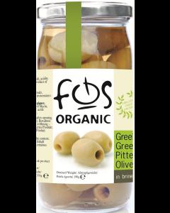 Masline verzi fara samburi ecologice 350g Fos Bio