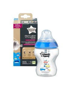 Biberon Decorat Closer To Nature, Bleu, 260 Ml, 1 Buc, Tommee Tippee