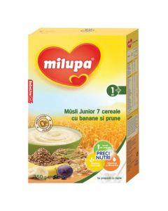Cereale fara lapte, Milupa Musli Jr 7 cereale cu banane si prune, 250g, 12luni+