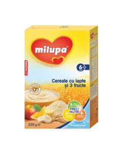 Milupa Cereale cu lapte si 3 fructe, 250g, 6luni+
