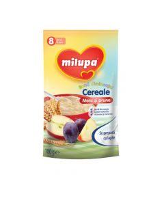 Cereale fara lapte, Milupa, Buna dimineata cereale mere si prune, 180g, 8luni+