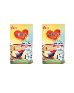 Pachet 2 x Cereale fara lapte, Milupa, Buna dimineata cereale mere si prune, 180g, 8luni+