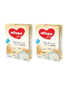 Pachet 2 x Cereale fara lapte Milupa, Fulgi de orez cu gust vanilie, 200g, 4luni+