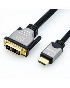 CABLU HDMI LA DVI-D 24+1 PINI T-T 2M, ROLINE 11.04.5871