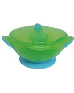 Bol hranire cu ventuza si lingurita verde/albastru, Primii Pasi
