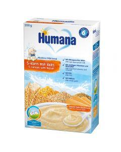 Humana 5 Cereale cu Lapte si Biscuiti 200g