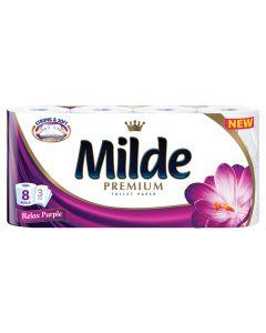 Hartie igienica Milde Relax Purple, 8 role, 3 straturi