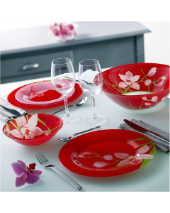 Set vesela 19 piese Red Orchis, Luminarc