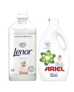 Detergent automat lichid Ariel Baby, 40 spalari, 2,2 L + Lenor Sensitive, 63 spalari, 1,9 L