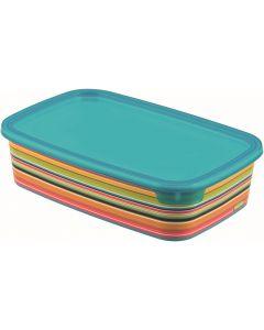 Cutie alimente 1L, forma dreptunghiulara, plastic, decor STRIPES multicolor, DECO CHEF, CURVER