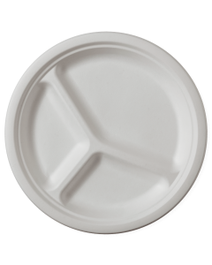 Set 8 farfurii biodegradabile rotunde 25 cm, 3 compartimente