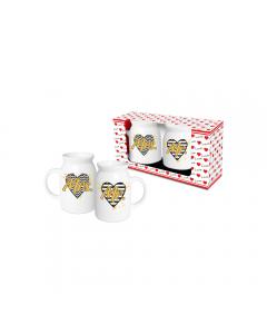 Set 2 cani lapte/vin fiert Mrs+Mr, negru-auriu