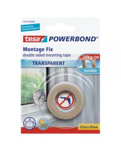 Powerbond banda dublu adeziva TRANSPARENTA 1,5M19MM, Tesa