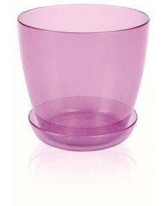 Ghiveci + suport orhidee, Roz transparent, 1.5L