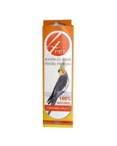 Baton cu miere pentru papagali 80 gr, 4Pet