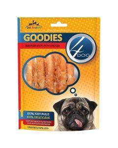 Recompense pentru caini Rawhide Sticks Goodies 100 gr, 4Dog