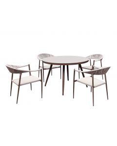 Set masa + 4 scaune gradina, alb-maro