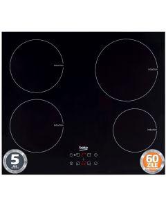 Plita incorporabila Beko HII64400AT, Inductie, 4 arzatoare, 60 cm, Timer, Taste Touch, Sistem Protectie Sticla neagra