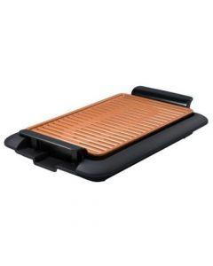 Gratar electric Mediashop Livingtone Smokeless Grill 3336, Tava scurgere, 4 setari de temperatura, tehnologie TiCerama, 1000W, Nergu/Portocaliu