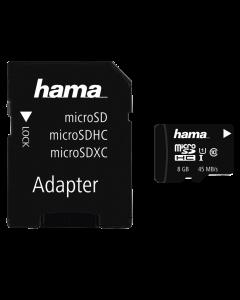 Card microSD Hama 8GB, 48 MB/S, +adaptor