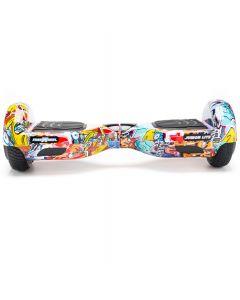 Hoverboard Junior Lite Freewheel, motoare 2 x 200 W, viteza 12 km/h, Graffiti Albastru