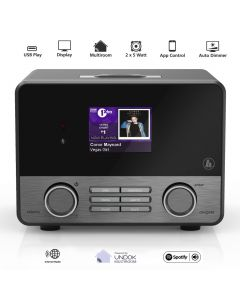 Radio Internet IR110MS Hama, Streaming-Radio, Spotify Connect, WLAN, LAN, Jack 3.5mm, Optic, USB, Negru