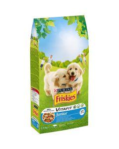 Friskies JUNIOR cu pui si legume, hrana uscata pentru caini, 2,4 kg