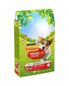 Friskies Mini Menu cu vita, hrana uscata pentru caini, 1,5kg