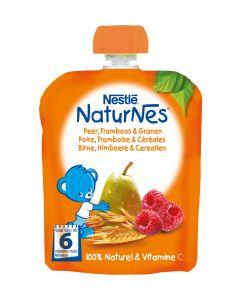 Piure Nestle NaturNes Pere, Zmeura si Cereale, 90g, de la 6 luni